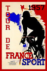 1957 Tour de France Bicycle Race Paris France Vintage Travel Art Poster Print