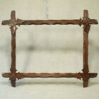 Frame Anirondack Lodge Art Cabin Carved Corner Leaves. Opening 14 1/4 x 10 5/8