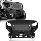 Texture Black Front Bumper w Winch Plate  Grille for Jeep Wrangler JK 07 18