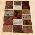 HOME DECOR TURKISH CARPET PATCHWORK RUG RECTANGLE BROWN 30+ WOOL AREA RUG 3X4ft.