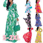 Women's Maxi Long Dress Plus Size V Neck Long Sleeve Floral Pattern Aline Dress