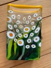 Mad Art Signed Glass Flower Vase Yellow Green Daisies 2009 Collectible