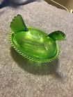 Vintage Green Glass Hen On A Nest Candy Dish Butter Dish Chicken