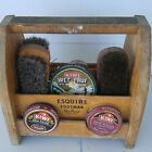 VINTAGE ESQUIRE wood SHOE SHINE carrier BOX brush POLISH store DISPLAY decor