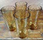 Set of 4 Glasses Anchor Hocking Amber Honeycomb Iced Tea Beverage Tumblers