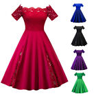 Plus Size Vintage 50s 60s Lace Off Shoulder Swing Evening Party Rockabilly Dress