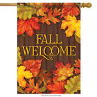 Lovely Leaves Fall House Flag Autumn Welcome Primitive Double Sided 28 x 40