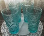 4 Vintage Glasses Tumblers Anchor Hocking Lido Milano Aqua Turquoise 5 1/2