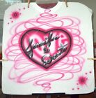LOVE HEART Airbrushed T shirt Personalized All Sizes Up To 6X