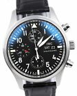 Mint IWC Classic Pilot Chronograph Black Day Date 42mm 3717 Leather IW371701