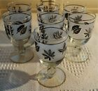 7 Vintage Libbey Silver Foliage Leaf Frosted Water Goblets 5 1/2