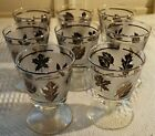 8 Vintage Libbey Silver Foliage Leaf On the Rocks Wafer Stem 4 1/4