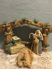Burlap and Straw Christmas Nativity Creche Manger HandMade burlap Fabric Figures