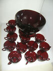 Vintg Anchor Hocking Royal Ruby Red Punch Bowl Set w/ 12 Cups, Base, Glass Ladle