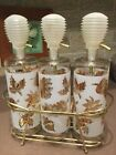 Caddy Frosted Glass with Gold Leaf VINTAGE SET