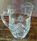 Milk Pitcher Early American Prescut EAPC Star of David Crystal Clear Glass Pint