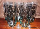 5 Vintage LIBBEY Green Optic Swirl Tumblers Glasses 6-1/4 Inches Tall # LRS250