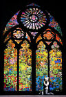 BANKSY Stained Glass Light Street Artwork Print on Glossy Paper or Canvas