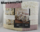 Martha Stewart Farmhouse Patchwork Reversible FULL QUEEN Quilt Ivory Red