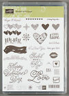 Stampin Up Sealed with Love Photopolymer Stamp Set Hearts Valentines Day Kiss