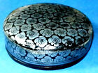 Antique Burmese Silver Flower Conch Painted Etched Lacquer ware Coaster set