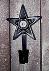 Black Cast Iron Solid Star Design Small Key Holder Or Hook Primitive Country