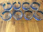 8 Culver Signed Mid Century Roly Poly Azure Blue Scroll Low Ball Glasses