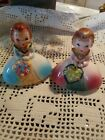 JAPAN SALT AND PEPPER SHAKERS 2 BRIDESMAIDS GIRLS IN GOWN W FLOWERS COULEE DAM
