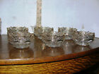 Vintage 7 piece set Clear Glass  Berry Bowls w Embossed Pattern