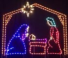 Xmas Small Nativity with Manger Outdoor LED Lighted Decoration Steel Wireframe