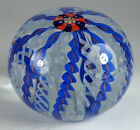 Drew Ebelhare 1993 Blue, Orange, and White Crown Paperweight