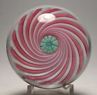 Drew Ebelhare 1994 Pink and White Clichy Style Swirl Paperweight