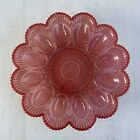 Vintage Indiana Glass Hobnail deviled egg relish Plate Rose Pink