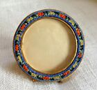 Round Micro Mosaic Frame Vintage Italy Gold Gilt Rope Trim with Glass
