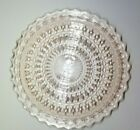 VTG Jeanette Pale Pink Glass Sandwich Plate Holiday Pink Button  Bows 10 3 8