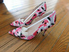 NIB Kate Spade Pink Licorice Heels Rose Floral Print Leather Pump 6W