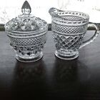 Anchor Hocking 'Wexford' Vintage Clear Footed Creamer and Sugar Bowl w/Lid