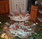 Mikasa Crystal Walther Germany ROSELLA Pink Glass 2 Tier Tidbit Serving Tray