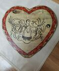 ANTIQUE FOLK ART PAINTING ON WOOD ANGEL PENNSYLVANIA DUTCH HEART SHAPED