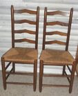Antique Pair Ladder Back Chairs with Rush Woven Seats, Shaker Style, Farmhouse