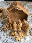 Hand made olive wood Nativity set made in Bethlehem 12 piece