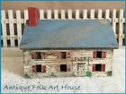 Primitive Antique Little Wood Folk Art Cottage House Original Old Paint aafa
