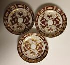 3 Antique Davenport Longport Staffordshire Burgundy Red Bowl Dishes w/ Gold 4219