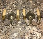 Antique Two Arm Pair early brass sconces All original patina rewired 19A