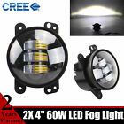 Pair 4inch 30W Round LED Fog Light Driving Jeep Wrangler JK CJ TJ DRL Front 60W