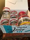ANCHOR HOCKING Pitcher and Juice Glasses-Set of 6 Red White Green Rings on Clear