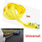 5M Heavy Duty 5 Ton Car Tow Cable Towing Pull Rope Strap Hooks Van Road Yellow