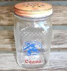 Hazel Atlas Waffle Clear Glass Dutch Boy Kitchen Range Cocoa Shaker-Red Lid