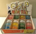 8 Vintage Anchor Hocking Happy Time 11 oz Multi Color Glasses In Box