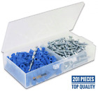 Ribbed Plastic Anchor Kit with Screws and Masonry Drill Bit (#10-12 x 1